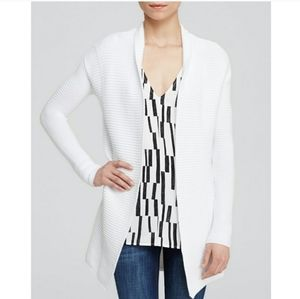 Vince Ribbed White Cotton Cardigan